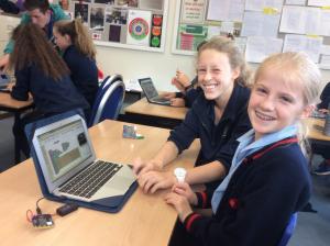 Girls coding on the BBC micro:bit