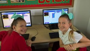 Pupils coding using the BBC micro:bit